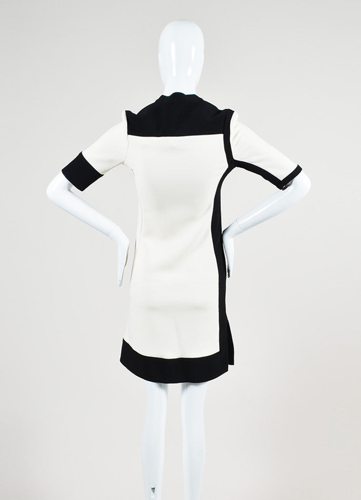 Black and Cream Balenciaga Colorblock Collarless Short Sleeve Sheath Dress Backview