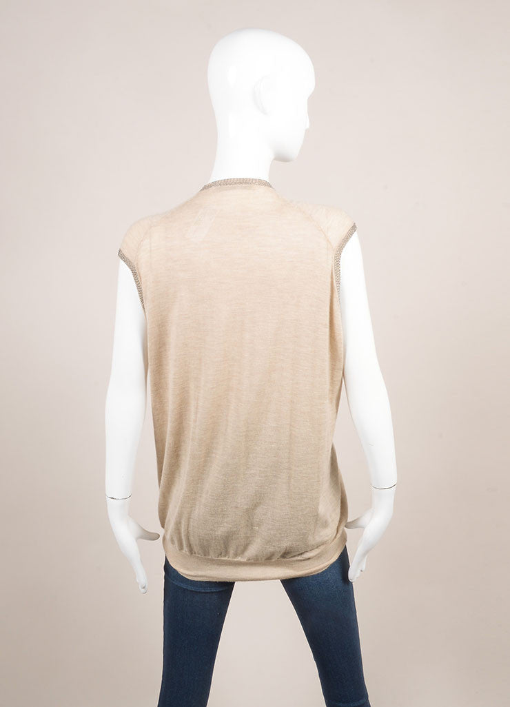Balenciaga Tan and Silver Metallic Beaded Oversized Cashmere Sleeveless Vest Backview