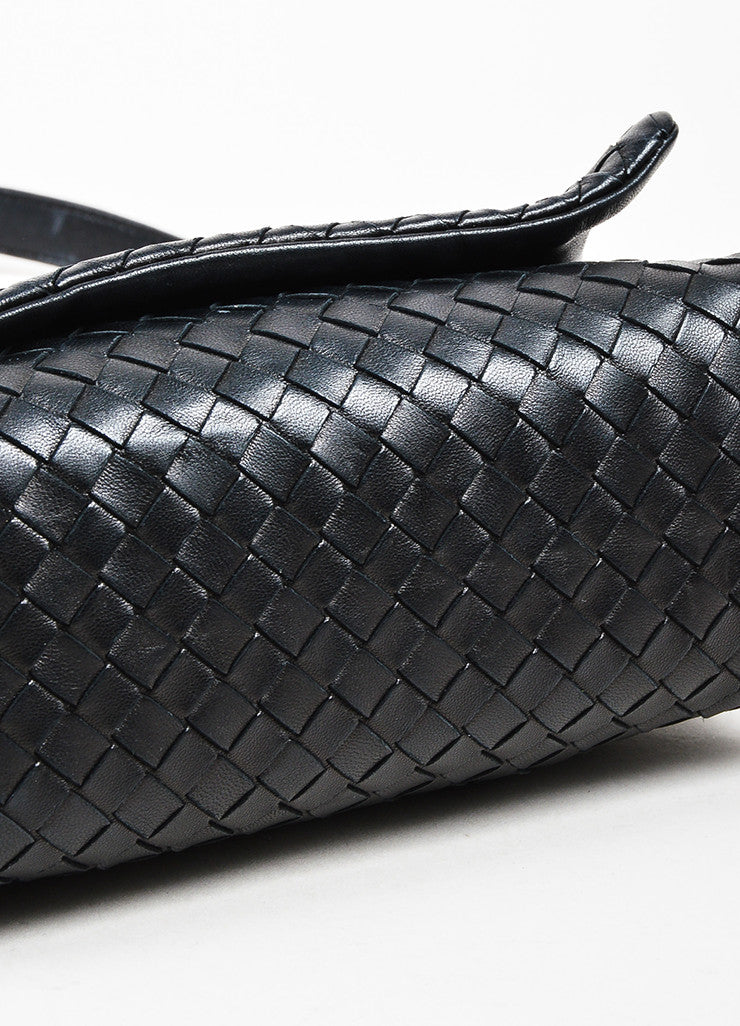 Bottega Veneta Black Woven Leather Flap Shoulder Bag Bottom View