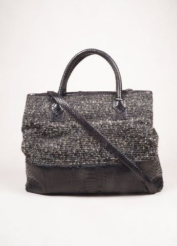 Carlos Falchi Grey and Black Tweed and Snakeskin Leather Large 2 Way Tote Bag Frontview
