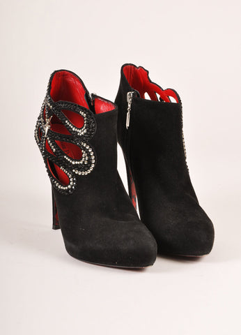 Cesare Paciotti Black Suede Rhinestone Cut Out Heeled Booties Frontview