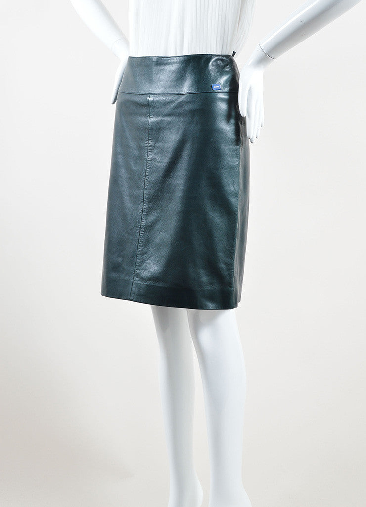 Chanel Hunter Green Leather Straight Knee Length Skirt Sideview