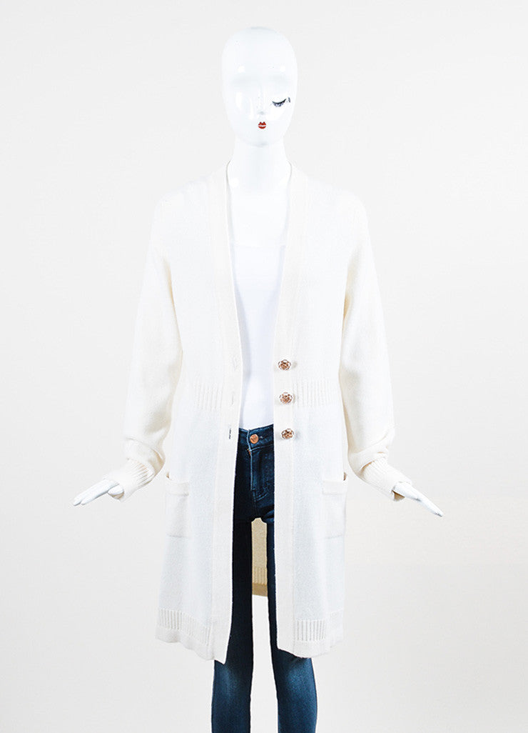 Chanel Cream Cashmere Embellished Floral Button Sweater Duster Cardigan Frontview