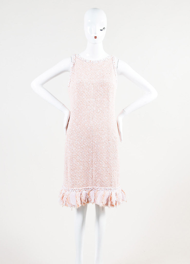 Chanel Peach and White Tweed Cross Strap Strip Ruffled Shift Dress Frontview