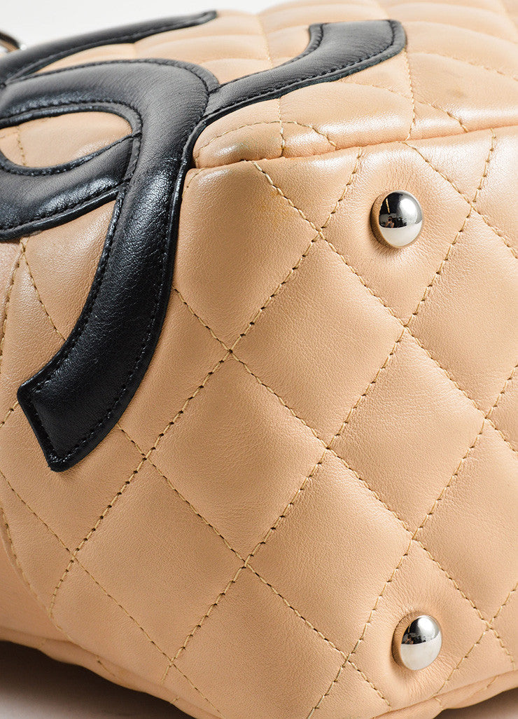 Chanel Beige and Black Quilted Leather Cambon Ligne Bowler Tote Bag Detail