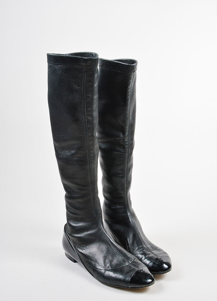 Chanel Black Lambskin Patent Leather Cap Toe 'CC' Tall Flat Boots Frontview