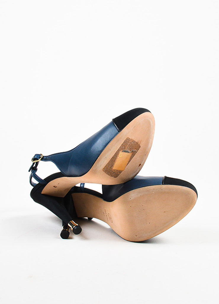 Navy Blue Chanel Leather Silk Cap Toe Slingback Pumps Sole