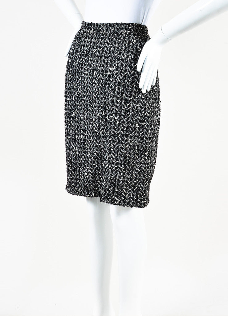 Chanel Black and White Wool Boucle Tweed Back Zip Pencil Skirt Sideview
