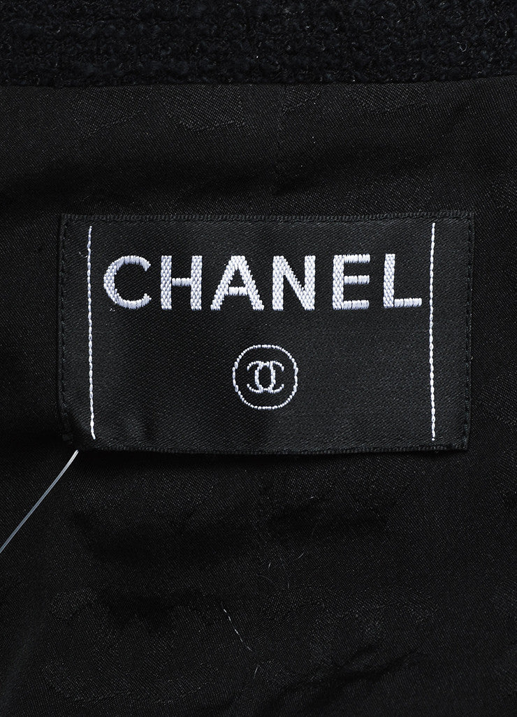 Chanel Black Cotton and Wool Tweed Sequined Blazer Skirt Suit Brand