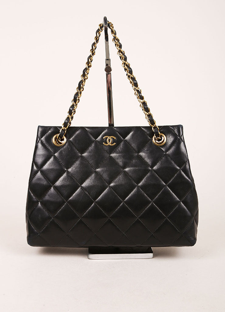 "Chanel Black Quilted Lambskin ""CC"" Chain Strap Handbag Frontview"