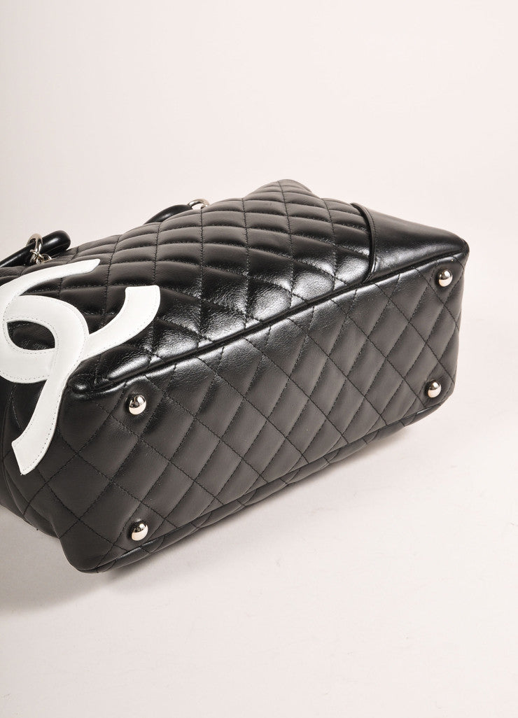 "Chanel Black and White Quilted Leather ""Cambon Ligne Bowler"" Shoulder Bag Bottom View"