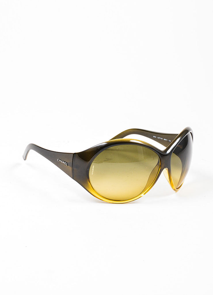 "Brown and Yellow Chanel Plastic Oversized Round ""6015"" Sunglasses Sideview"