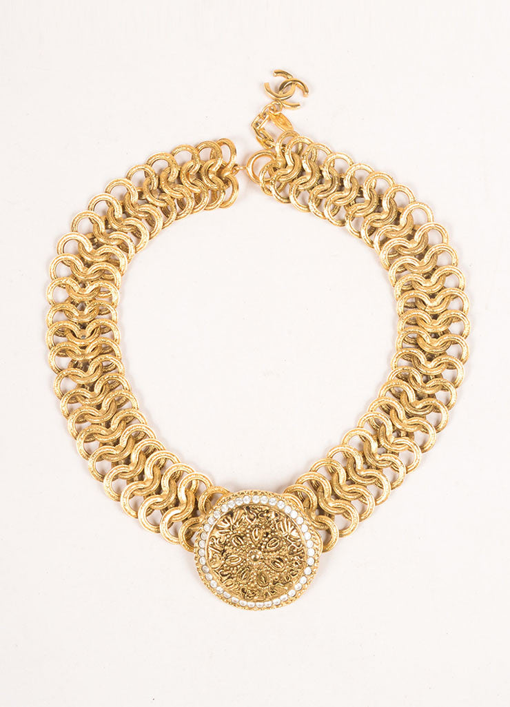 Chanel Gold Toned Chain Link Floral Medallion Choker Necklace Frontview