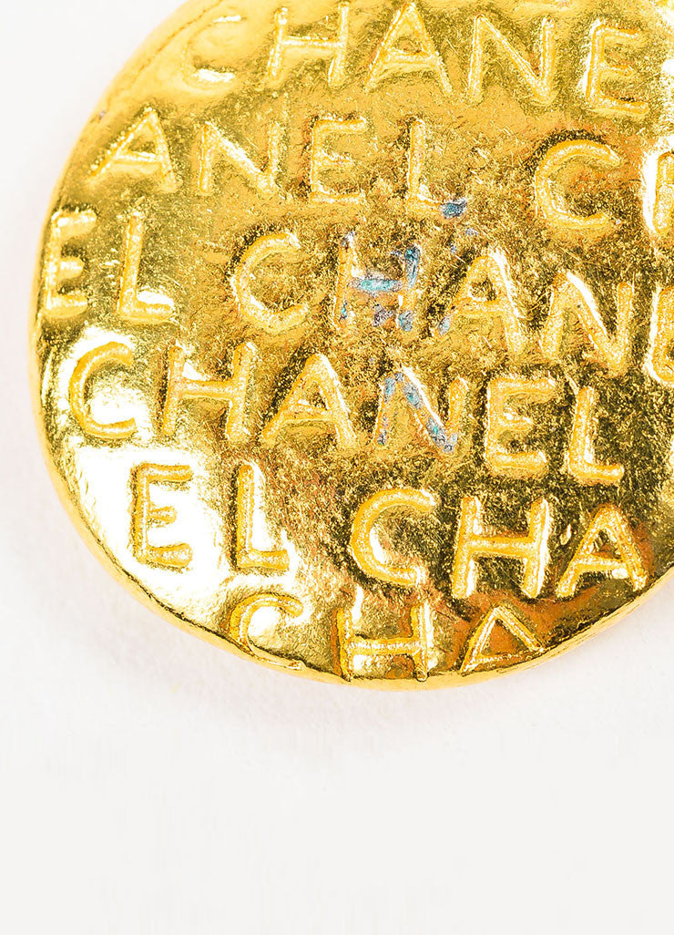 Gold Toned Chanel Mademoiselle Disc Pendant Brand