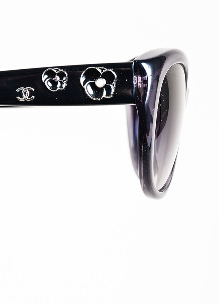 "Grey Chanel Floral Embellished Oval Ombre Lens ""Camellia"" Sunglasses Detail"