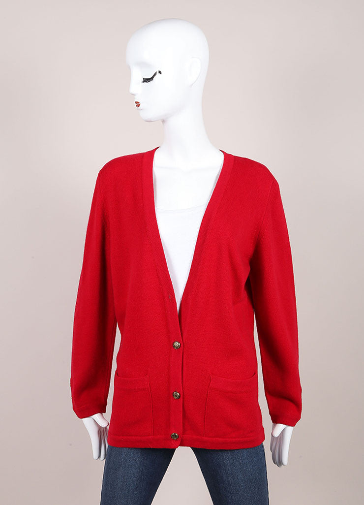 Chanel Red Cashmere Long Sleeve Front Button Cardigan  Frontview