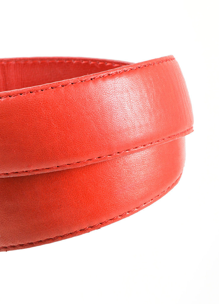 "Chanel Red and Gold Toned Leather ""CC"" Round Buckle Belt Detail 2"