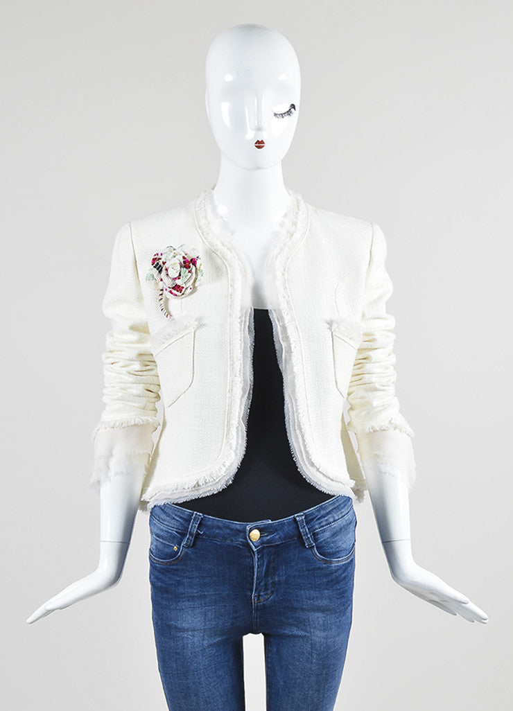 White Chanel Tweed Chiffon Flower Pin High Low Lady Jacket Frontview