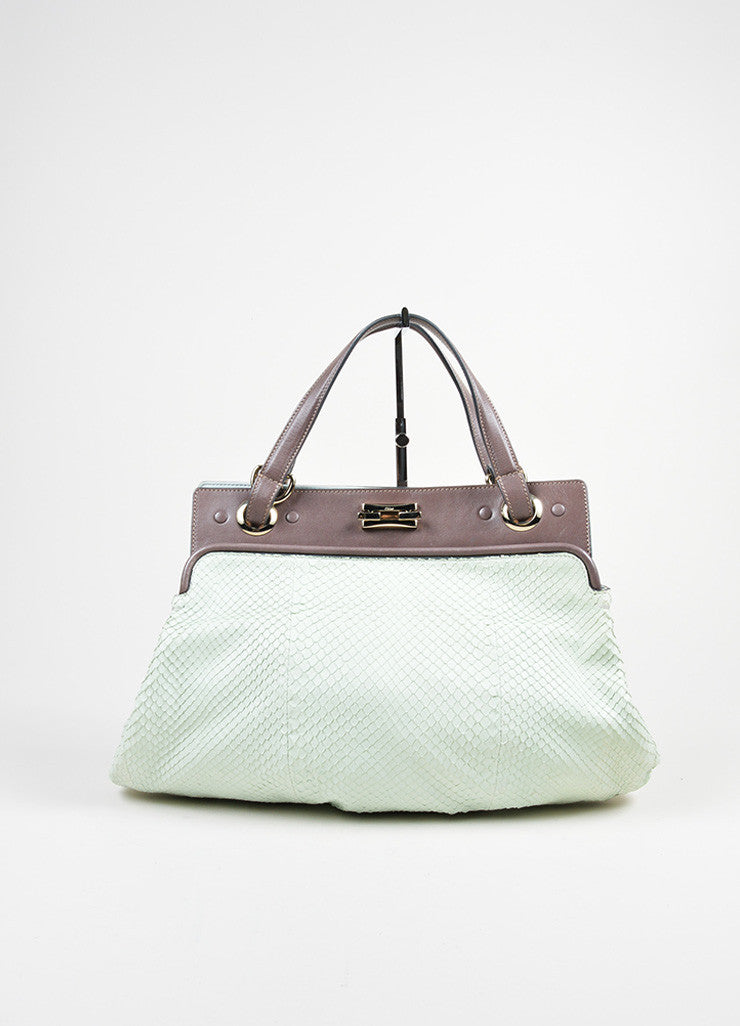 Mint Green and Brown Chloe Python Leather Top Handle Satchel Bag Frontview
