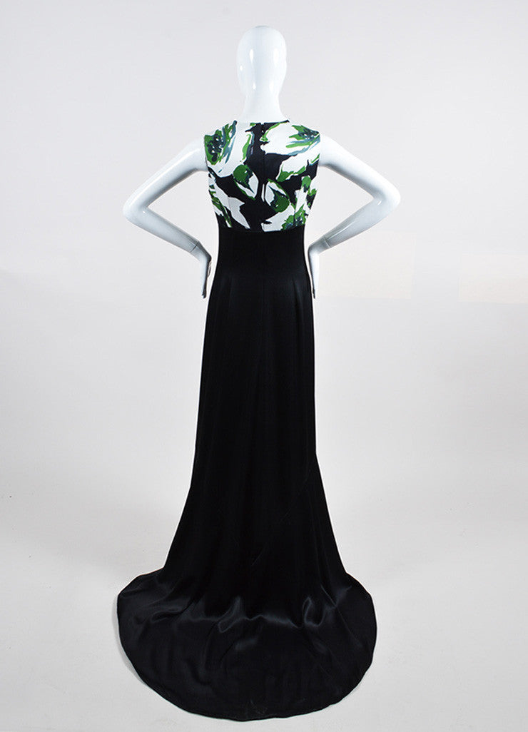 Black, Green, and White Christian Dior Silk Printed Gown Backview