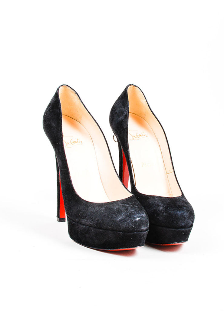 "Black Christian Louboutin Suede Zipper Platform ""Roland"" Pumps Frontview"