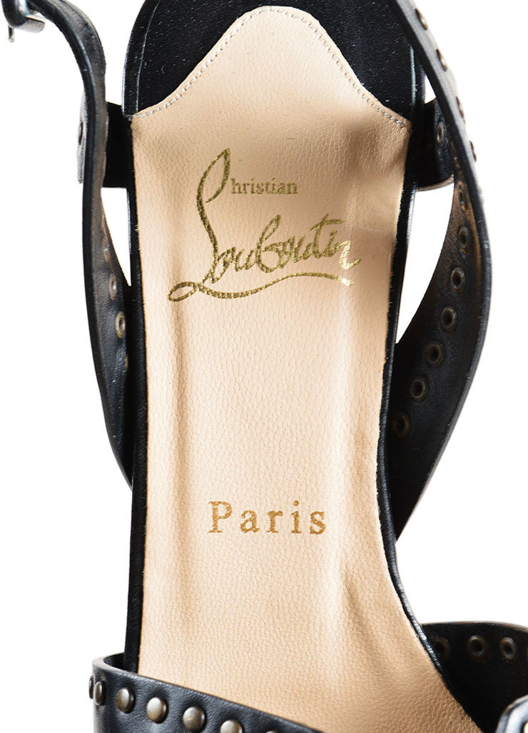 "Christian Louboutin Black Leather and Cork ""Ariellita"" Platform Sandals Brand"