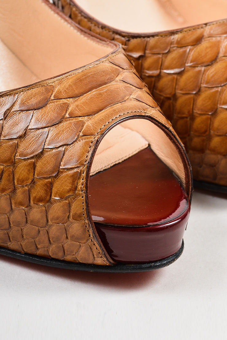 "Christian Louboutin Brown Python ""Very Prive"" Peep Toe Platform Pumps Detail"