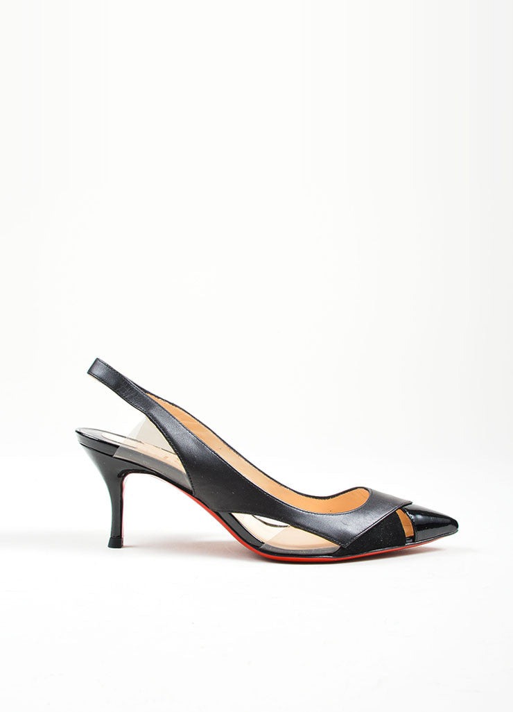 "Black Leather and PVC Christian Louboutin ""Air Chance 70"" Slingbacks Sideview"