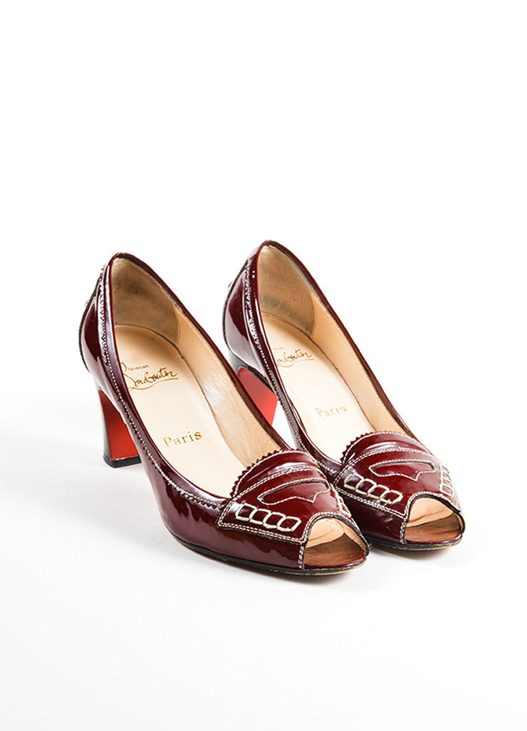 "Christian Louboutin Red Patent Leather Stitched ""Peniche"" Peep Toe Pumps Frontview"