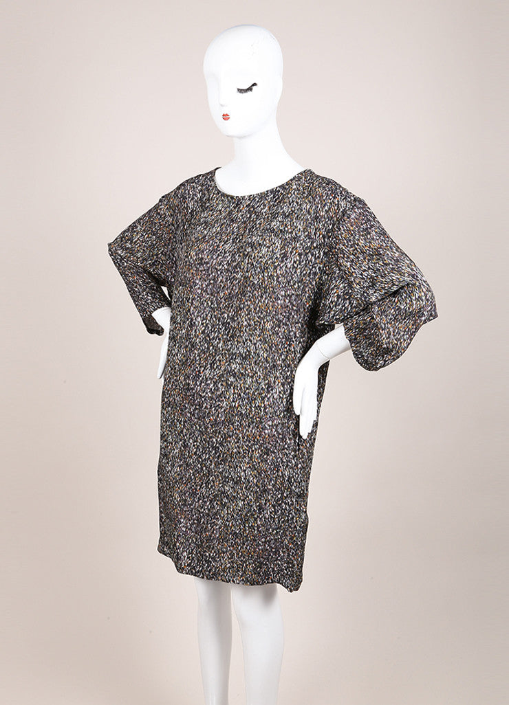 "Christian Wijnants New With Tags Multicolor ""Deus"" Blizzard Print Silk Shift Dress Sideview"