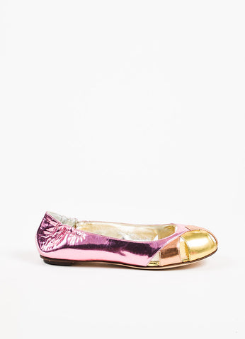 Dolce & Gabbana Pink, Orange, and Gold Metallic Patent Leather Cut Out Flats Sideview