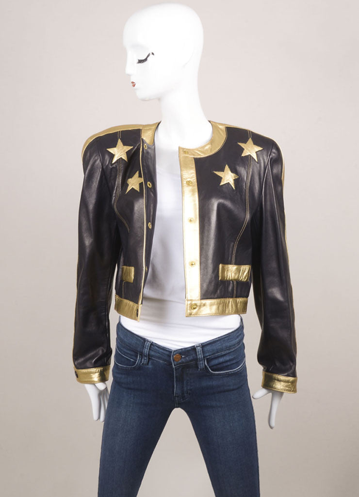 Escada Black and Gold Leather Star Embroidered Jacket Frontview