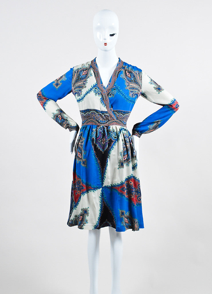 Blue and Multicolor Etro Silk Chiffon Paisley Print V-Neck Long Sleeve Dress Frontview