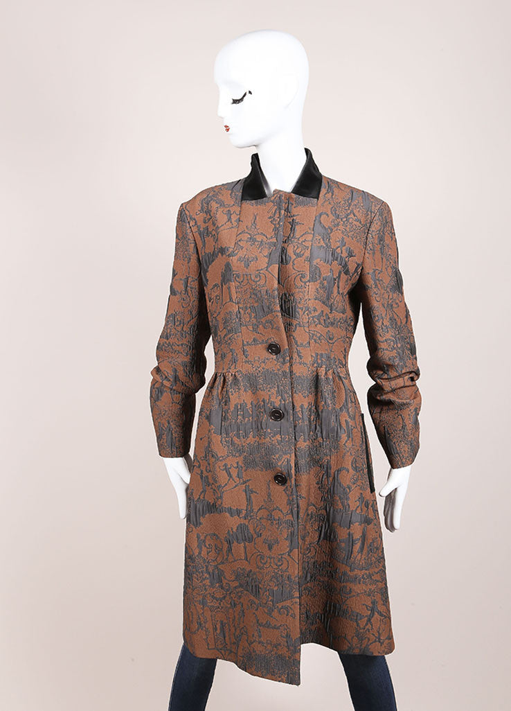 Etro Tan and Blue Rococo Brocade Embroidered Velvet Trim Buttoned Coat Frontview