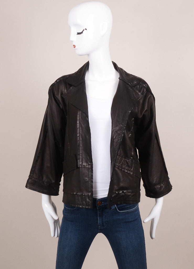 Fendi Black Leather Exposed Seam Detail Three Quarter Sleeve Jacket Frontview