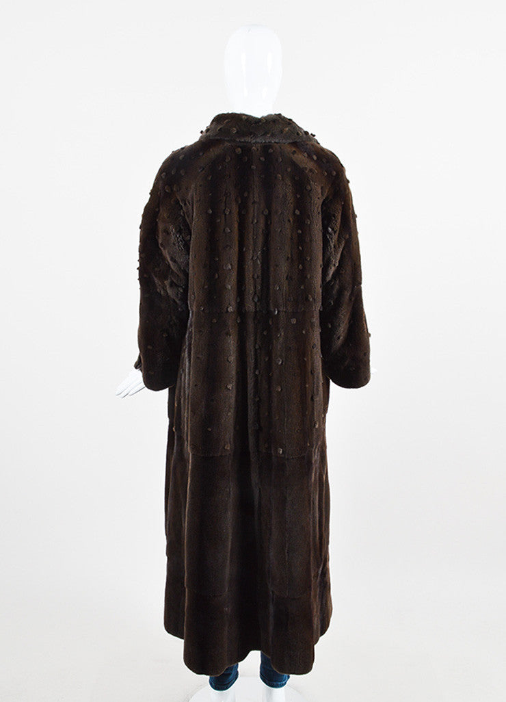 Ì_Ì_å¢Ì_?ÁÌ_Ì_Fendi Brown Sheared Mink Dot Pattern Long Open Front Coat Backview
