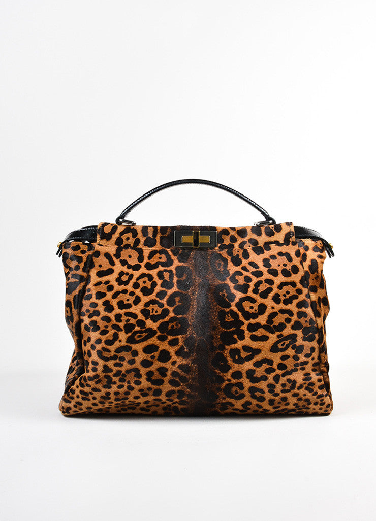 "Fendi Pony Hair Leopard Print ""Peekaboo"" Dual Compartment Bag Frontview"