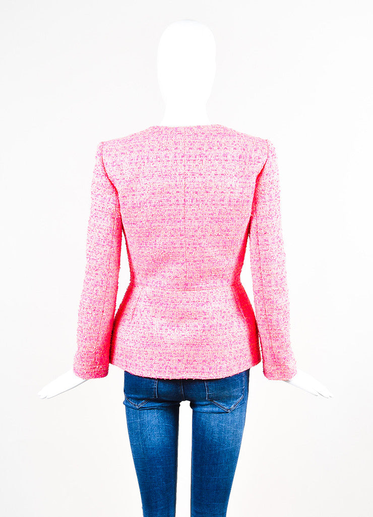Neon Pink Giambattista Valli Woven Tweed Long Sleeve Blazer Jacket Back