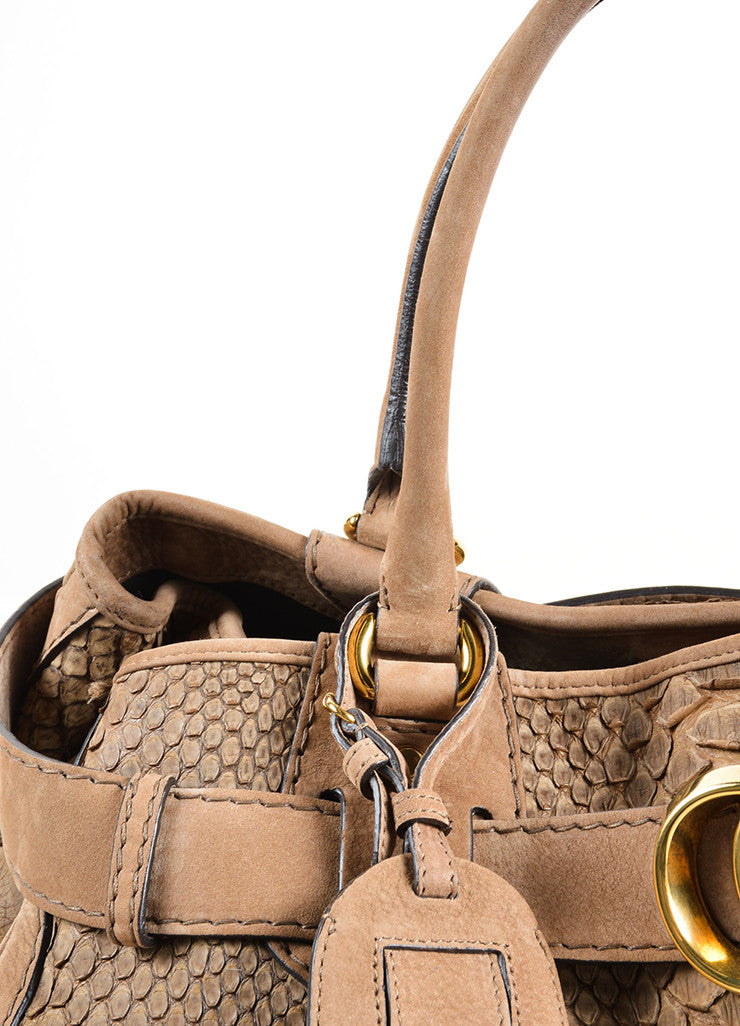 "Gucci Light Brown Suede Leather Python Effect ""GG Running"" Tote Bag Detail 2"