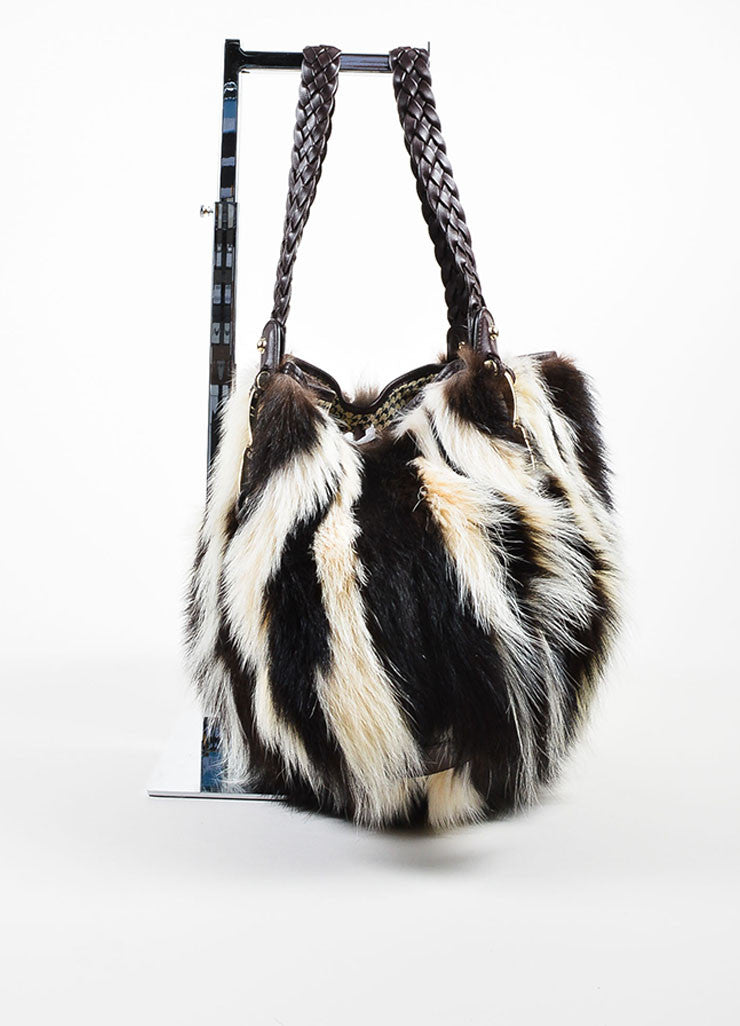 "Brown and White Gucci Fitch Fur Leather Limited Edition ""Pelham Medium"" Bag Sideview"