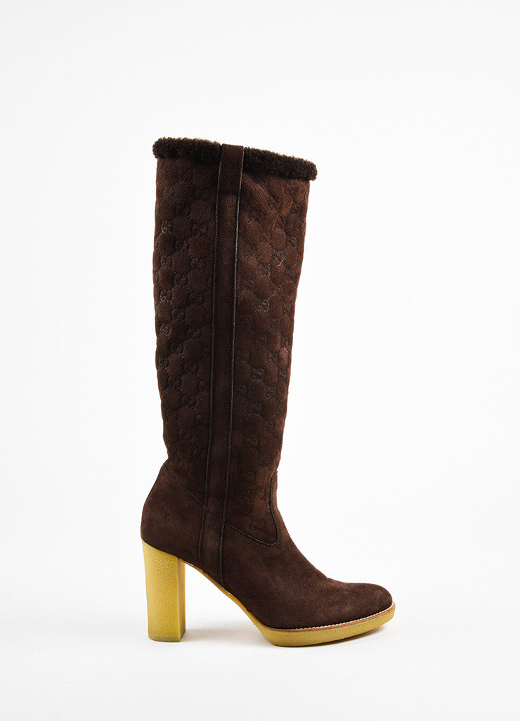 "Gucci Brown Shearling ""Guccissima"" Tall Heeled Boots Sideview"