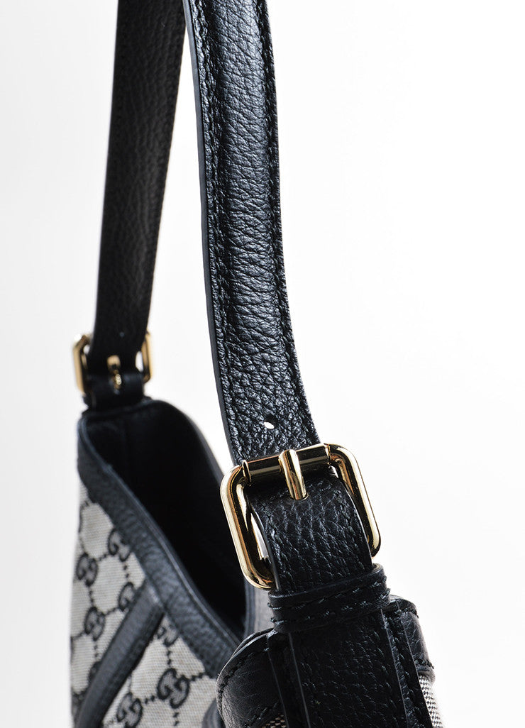 "Gucci Black ""GG"" Monogram Canvas Hobo Bag Detail 2"