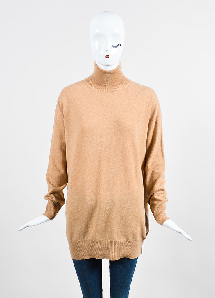 Gucci Tan Cashmere Long Sleeve Turtleneck Oversized Sweater  Frontview