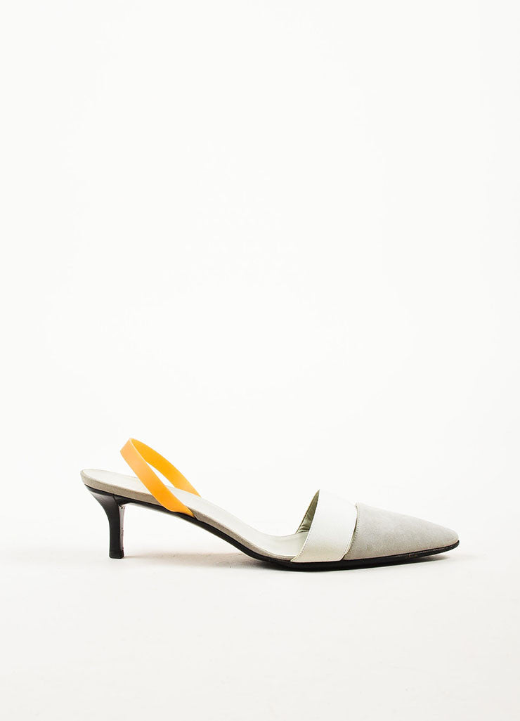 Helmut Lang White, Dove Grey, and Tan Suede Rubber Slingback Kitten Heels Sideview