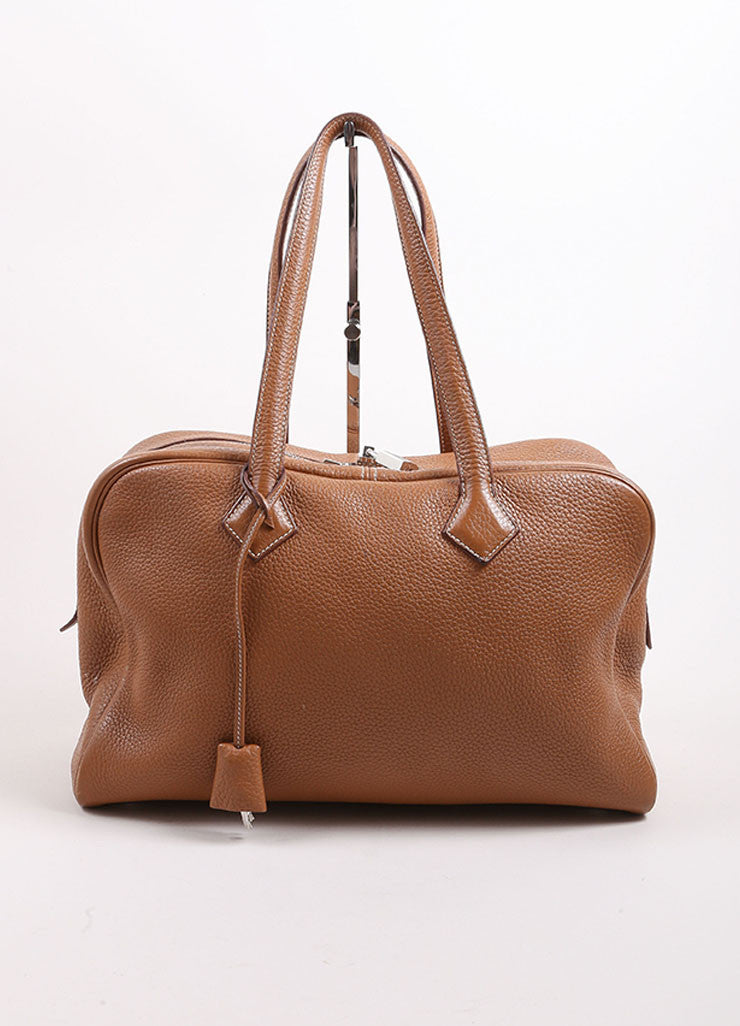 "Hermes Brown Clemence Leather ""Victoria"" Satchel Bag Frontview"