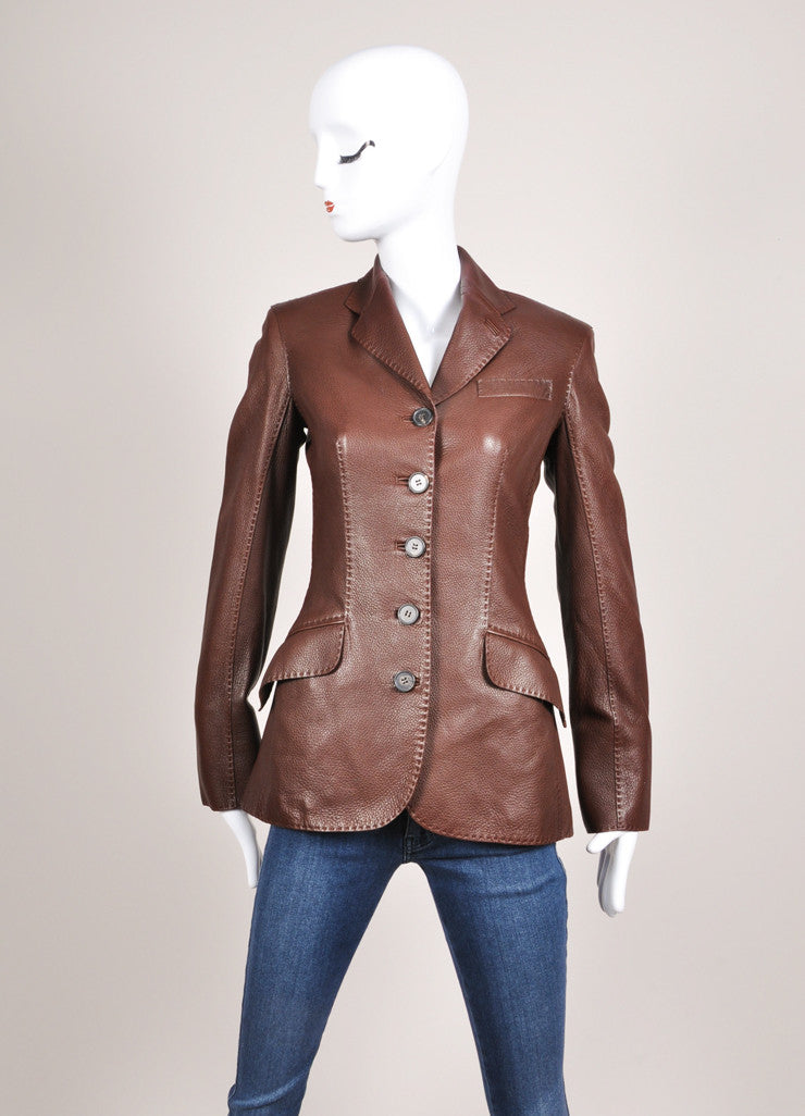 Hermes Chocolate Brown Pebbled Leather Long Sleeve Jacket Frontview