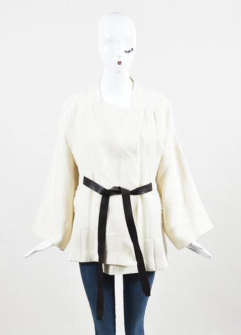 "IRO Cream Linen Blend Textured Leather Tie Belted ""Ambar"" Jacket Frontview"