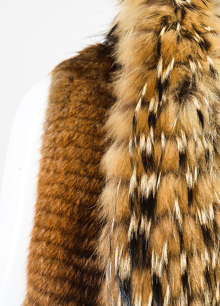 J. Mendel Brown, Beige, and Black Muskrat and Raccoon Fur Striped Knee Length Shawl Vest Detail