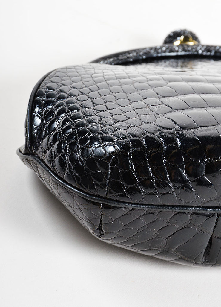 Judith Leiber Black Alligator Leather Chain Strap Clutch Bag Detail