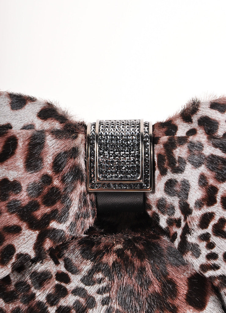 Judith Leiber Grey and Black Cheetah Print Clutch Bow